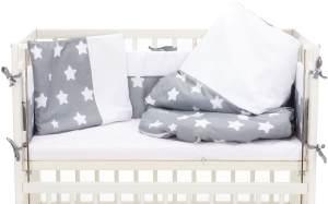 Fillikid Beistellbett Cocon 45x95 cm weiß mit Bettwäsche Set TOP sterne groß grau
