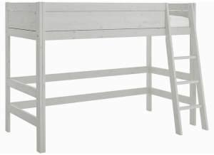 LIFETIME KIDSROOMS 'Lifetime' Hochbett 90 x 200 cm, inkl. Lattenrost und schräger Leiter Grey Wash