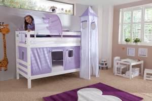 Etagenbett BENI Buche massiv weiß lackiert mit Textilset purple/weiß/herz