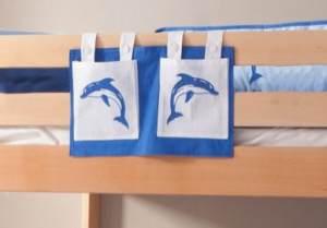 Stofftasche Seitentasche Hängetasche für Hochbett Etagenbett Weiß/Delfin