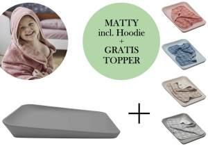 Leander Matty Wickelauflage + Hoodie Kapuzenhandtuch + Gratis Topper Dusty Grey Cappuccino