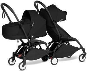 Babyzen YOYO2 schwarzer Rahmen mit CONNECT komplett für 1 Neugeborenes und 1 Kind von 6 Monaten + Farbe schwarz