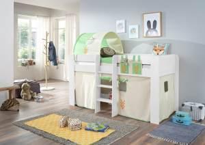 Relita Halbhochbett ANDI Liegefläche 90 x 200 cm Dekor weiß inkl. Vorhang, Tasche und 1-er Tunnel