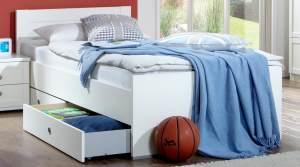 Bett FILOU Bettgestell mit Bettkasten Kinderbett Kinderzimmer Jugendzimmer weiß