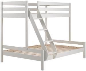 Vipack 'Martin' Etagenbett, weiß, 90x200/140x200 cm, Kiefer massiv, inkl. Lattenroste