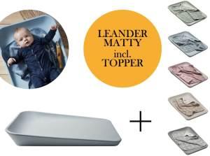 Leander Matty Wickelauflage + Topper + Hoodie Blueberry Sage Green