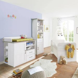 Babymöbel Set 'Lund' 3-teilig im Landhausstil, Pinie weiß Nb. /Trüffel Eiche Nb.