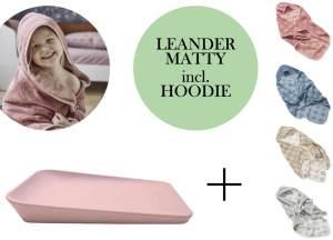 Leander Matty Wickelauflage + Hoodie Kapuzenhandtuch + Gratis Topper Soft Pink Cool Grey