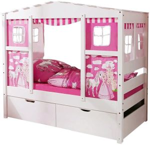 Ticaa 'Horse Rosa' Hausbett Mini weiß inkl. Bettkasten 'Melanie'