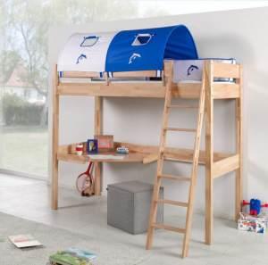 Relita 'RENATE' Multifunktionsbett mit Schreibtisch Buche Stoffset Weiß/Delfin inkl. Matratze