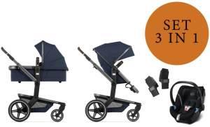 Joolz 'Day+' Kombikinderwangen 3in1 2020 in Gentle Blue, inkl. Cybex Aton 5 Babyschale in Soho Grey