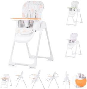 Chipolino, Kinderhochstuhl Sweety, Sitz verstellbar, klappbar, Sicherheitsgurt orange