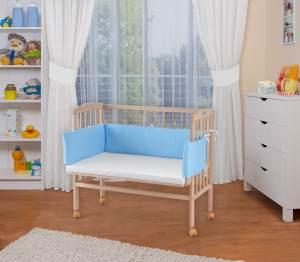 WALDIN Beistellbett mit Matratze, höhenverstellbar, Große Liegefläche, Ausstattung Punkte-blau, Gestell Natur unbehandelt