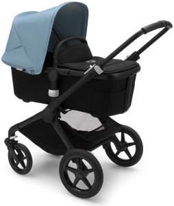 Bugaboo 'Fox2' Kombikinderwagen 3 in 1 Nebelblau/ Deep Black inkl. Babyschale