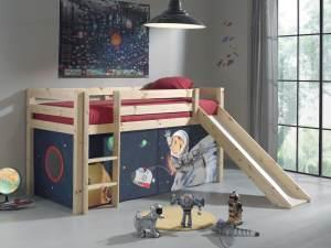 Pino Hochbett Natur lackiert 90x200 cm Spaceman Softdeluxe