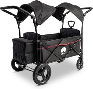 Elvent 'FamilyStar Premium' Bollerwagen in Schwarz klappbar, inkl. Sonnendach, Zugstange, Schiebegriff, 5-Punkt-Gurte und Hecktasche, 2 Sitzer