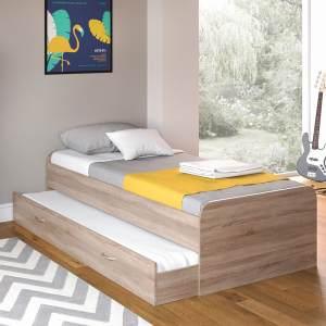 VitaliSpa 'Enzo' Bett Sonoma Eiche, 90 x 200 cm, mit ausziehbaren Zweitbett