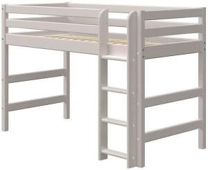 Flexa Classic Mittelhochbett mit gerader Leiter Grau