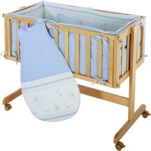 Roba 'Romm & Cradle' Beistellbett natur, inkl. Ausstattung 'Glücksengel' blau