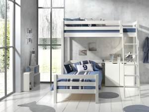 Vipack Winkel Hochbett mit 2 Liegeflächen 90 x 200 cm und 2-trg. Kommode, Ausf. weiß lackiert