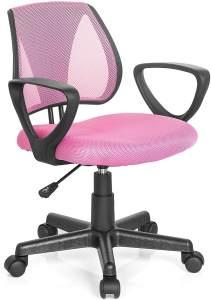 hjh OFFICE 725104 Kinder- und Jugenddrehstuhl KIDDY CD Netzstoff Rosa höhenverstellbarer Schreibtischstuhl mit Armlehnen