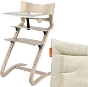 Leander Hochstuhl, whitewash, höhenverstellbar, Buche massiv, bis 125 kg, inkl. Sicherheitsbügel, Essbrett und Sitzkissen