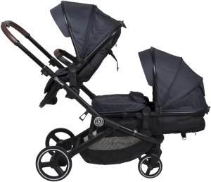 BabyGO 'Twinner' Geschwisterwagen 2 in 1 in Grau inkl. zwei zum Sportsitz umrüstbare Tragewannen