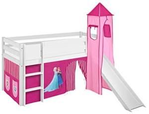 Lilokids 'Jelle' Spielbett 90 x 200 cm, Eiskönigin Rosa, Kiefer massiv, mit Turm, Rutsche und Vorhang