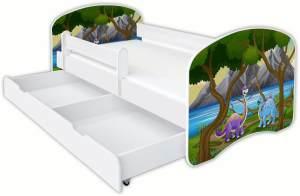 Clamaro 'Schlummerland Dinosaurier' Kinderbett 80x180 cm, Design 1, inkl. Lattenrost, Matratze, Rausfallschutz und Schublade