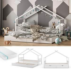 VitaliSpa 'Design' Hausbett 90x200 cm, weiß, Kiefer massiv, inkl. Gästebett, Matratze und Lattenrost