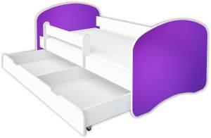 Clamaro 'Schlummerland Dekor' Kinderbett 80x180 cm, Design 25, inkl. Lattenrost, Matratze, Rausfallschutz und Schublade