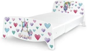 Einzelbett mit Lattenrost - SOPHIA - Holzbett ausziehbar auf 90x200 cm (3 Größen) + Matratze 200/90 cm EINHORN