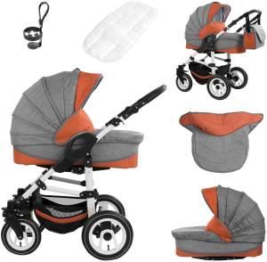 Bebebi Florenz | Hartgummireifen in Weiß | 3 in 1 Kombi Kinderwagen | Farbe: Spirito Orange White