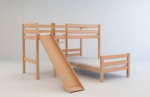 Mobi Furniture Etagenbett 90x200 inkl. Lattenrost Massiv Buche