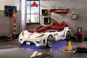 Cilek 'GTS' Autobett weiß, mit LED-Beleuchtung und Sound