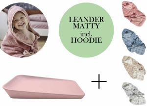 Leander Matty Wickelauflage + Hoodie Kapuzenhandtuch + Gratis Topper Soft Pink Dusty Blue