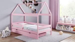 Kinderbettenwelt 'Home Plus' Hausbett 80x180 cm, rosa, Kiefer massiv, mit Schublade und Matratze