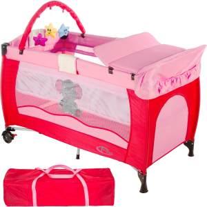 tectake 'Elefant' Reisebett, Pink, höhenverstellbar, mit Schlupf, inkl. Wickelauflage und Spielbogen