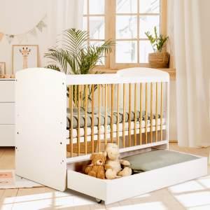 Babybett Kinderbett Gitterbett 60x120 mit Schublade höhenverstellbar & herausnehmbare Sprossen | sehr stabil maximale Sicherheit Made in Europe