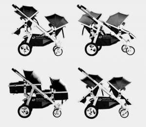 Babyfivestar Geschwisterwagen / Zwillingswagen Black