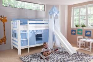 Etagenbett BENI mit Rutsche und Textilset Vorhang, Turm (lang) und Tasche