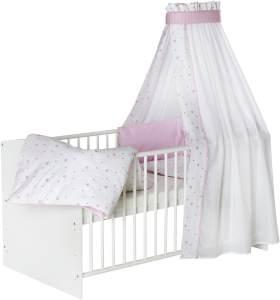 Schardt 'Classic White' Kombi-Kinderbett weiß. inkl. Ausstattung 'Herzchen' rosa