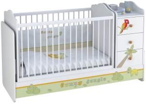 Polini Kids Kombi-Kinderbett Basic mit Kommode Jungle weißorange