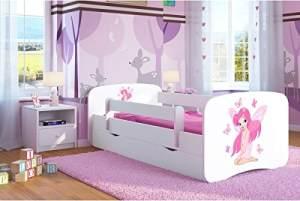 Kocot Kids 'Fee mit Schmetterlingen' Einzelbett weiß 70x140 cm inkl. Rausfallschutz, Matratze, Schublade und Lattenrost