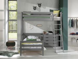 Vipack Winkel Hochbett mit 2 Liegeflächen 90 x 200 cm und Schubladen Kommode, Ausf. grau lackiert