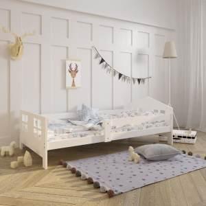 Kinderbett Hausbett Vollholz 80x160 cm mit Lattenrost in weiß Kiefer 160 x 80 Mädchen Jungen Bett Skandi