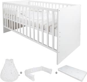 Roba 'Safe Asleep' Kombi Kinderbett weiß inkl. Bettset 'Sternenzauber' 70x140 cm