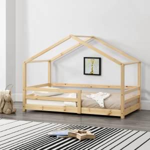 en.casa Hausbett 70x140 cm Natur, inkl. Lattenrost und Rausfallschutz