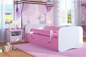 Kocot Kids Einzelbett pink/weiß 90x180 cm inkl. Rausfallschutz, Matratze, Schublade und Lattenrost