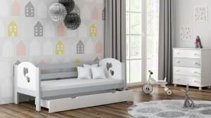 Kinderbettenwelt 'Felicita F3' Kinderbett 80x160 cm, Grau, inkl. Matratze, Schublade und Rausfallschutz